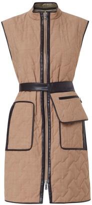 Nemozena Reversible Quilted Long Waistcoat Leather binding