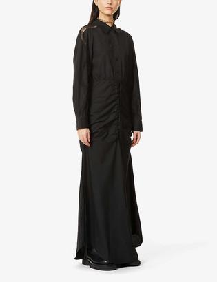CHRISTOPHER ESBER Lace-trim gathered-waist cotton maxi dress