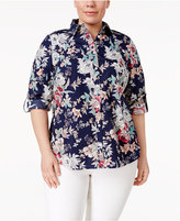 Charter Club Plus Size Cotton Printed Shirt, Only at Macy's