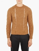 Maison Margiela Mustard Alpaca-Blend Cable Knit Sweater