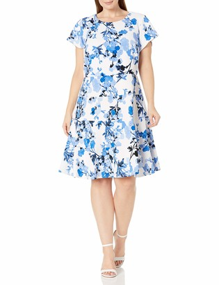 Jessica Howard JessicaHoward Women's Size Fit and Flare Dress with Seamed Skirt