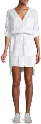 BCBGMAXAZRIA Long-Sleeve Cotton Blend Button-Front Dress