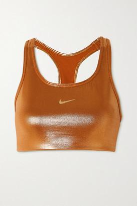 Nike Icon Clash Cutout Metallic Stretch Sports Bra - Gold