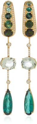 Carol Kauffmann Amazonia 18K Gold Green Tourmaline Prasiolite And Diamond Drop Earrings