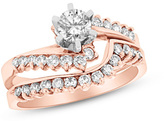 Zales 1 CT. T.W. Diamond Sunburst Bypass Bridal Set in 14K Rose Gold (I/SI2)