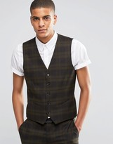 Selected Suit Vest with Check in Skinny Fit with Stretch