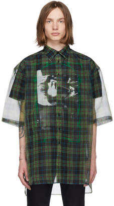 Raf Simons Black and Green Layered Short Sleeve Shirt
