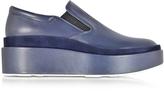 Jil Sander Navy Blue Leather and Suede Platform Loafer