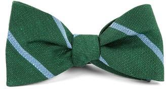 Tie Bar Spring Break Stripe Hunter Green Bow Tie
