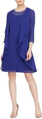 Slny Embellished Dress & Jacket 2-Piece Set