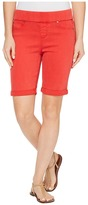 Liverpool Sienna Pull-On Bermuda with Rolled-Cuff in Pigment Dyed Slub Stretch Twill in Ribbon Red Women's Shorts