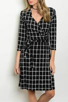 Gilli Checkered Faux Wrap Dress