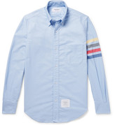 Thom Browne Button-down Collar Striped Cotton Oxford Shirt - Light blue