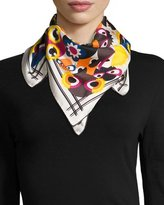 Fendi Silk Square Monster Scarf, White/Multicolor