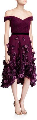 Marchesa Off-the-Shoulder Draped-Bodice High-Low Dress w/ 3D Flower Degrade