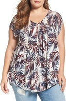 Lucky Brand Plus Size Women's Palm Leaf Print Tee