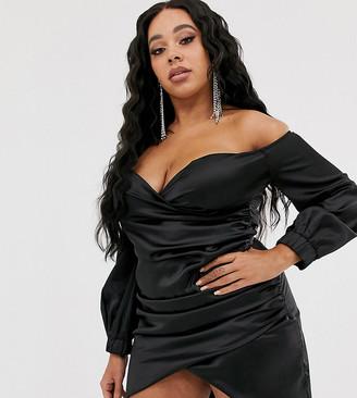Club L London Plus bardot satin ruched mini dress in black