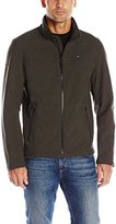 Tommy Hilfiger Men's Soft-Shell Classic Zip-Front Jacket with Tonal Logo At Back Neck