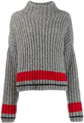 DSQUARED2 stripe detail ribbed knit jumper