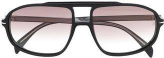 David Beckham Eyewear Double Nose Bridge Aviator Sunglasses