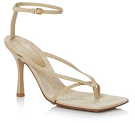 Bottega Veneta Women's Square Toe High Heel Leather Sandals