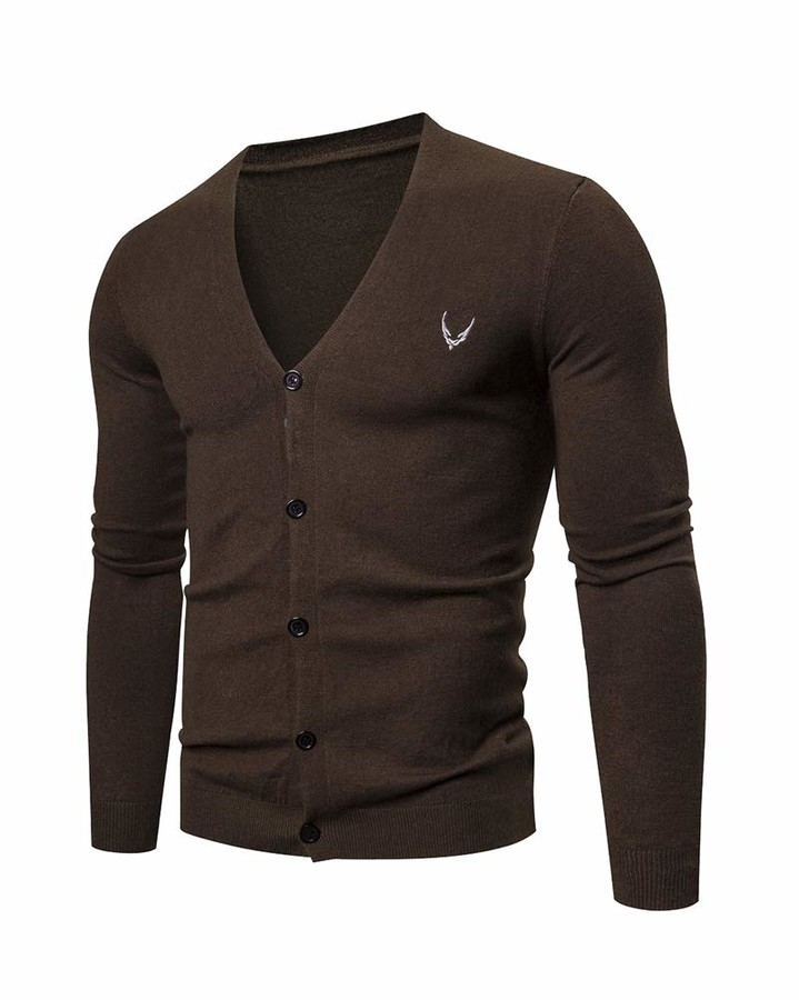 Thumbnail for your product : Aden Mens Classic V Neck Slim Fit Knitted Button Cardigans Sweater Coffee