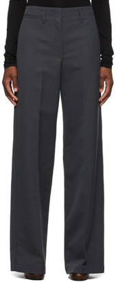 Lemaire Grey Wool Straight Trousers