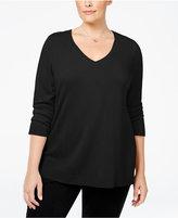 Karen Scott Plus Size Luxsoft V-Neck Sweater, Only at Macy's