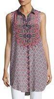 Tolani Holly Sleeveless Printed Tunic, Starburst, Plus Size