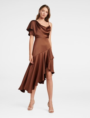 Forever New Ariana One-Shoulder Dress - Rust - 14