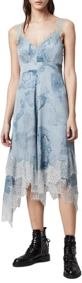 AllSaints Skylar Hatsukoi Print Lace Trim Midi Dress