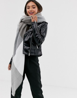 ASOS DESIGN oversized square scarf in blown up check mink