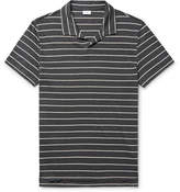 Onia Shaun Slim-fit Striped Knitted Slub Linen-blend Polo Shirt - Charcoal