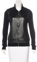 L'Agence Merino Wool Leather-Trimmed Cardigan
