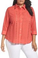 Foxcroft Plus Size Women's Ava Eyelet Shirt