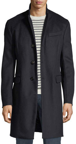 Emporio Armani Men's Single-Breasted Wool Top Coat, Navy