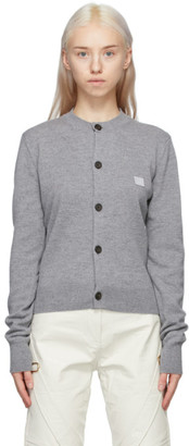 Acne Studios Grey Crewneck Patch Cardigan