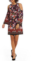 ECI Printed Long Sleeve Cold-Shoulder Dress