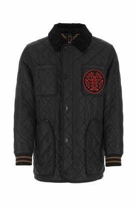 Burberry Varsity Graphic Diamond Quilted Barn Jacket
