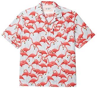 Original Penguin Flamingo Woven Camp Shirt (Ballad Blue) Men's Clothing