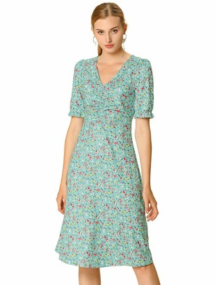 Allegra K Women's Retro V Neck Ruffle Short Sleeve Cinched Waist Midi Floral Dress Green 8