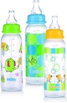 Nuby 3 Pack Standard Neck Printed Bottles 8oz Blue/Green/Orange