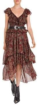 The Kooples Tanger Printed Silk-Blend Midi Dress