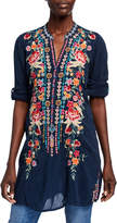 Johnny Was Annette Floral Embroidered V-Neck Tunic w/ Mandarin Collar