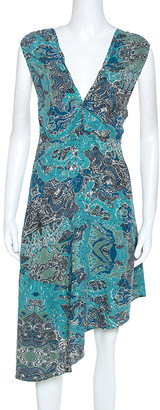 Zadig and Voltaire Blue Root Print Raw Edge Detail Dress M
