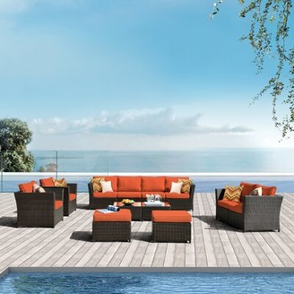 Rosecliff Heights Cassville 12 Rattan Piece Complete Patio Set with Cushions Cushion Color: Orange Red