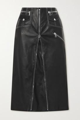 Alexander McQueen Zip-embellished Topstitched Leather Midi Skirt - Black