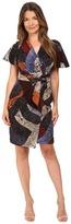 Just Cavalli Cross Naif Print Short Sleeve Faux Wrap Dress Women's Dress