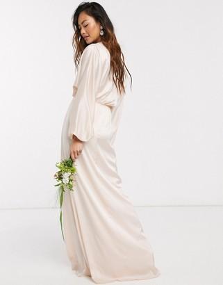 TFNC bridesmaids long sleeve sateen maxi dress in light blush
