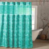 Kensie Ella Satin Look Microfer Shower Curtain With Sheer Border
